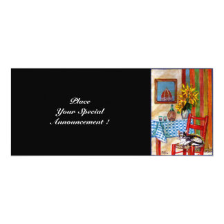 "ITALIAN KITCHEN IN FLORENCE, Red Blue 4"" X 9.25"" Invitation Card"