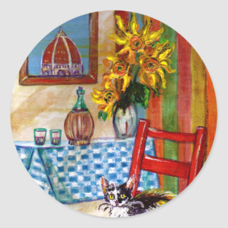 ITALIAN KITCHEN IN FLORENCE ROUND STICKERS