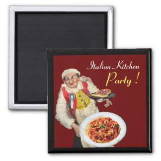 ITALIAN KITCHEN ,red 2 Inch Square Magnet