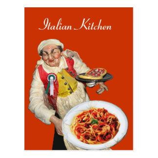 ITALIAN KITCHEN Yellow Orange Recipe Postcard