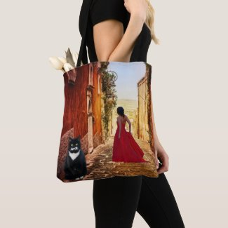Italian Lady in Red Fine Art Tote Bag