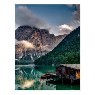 Italian Lake-Side Mountain Cabin Postcard