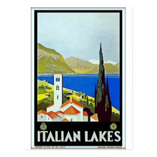 Italian Lakes District Vintage Travel Poster Postcard