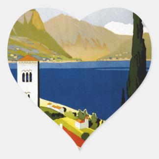 Italian lakes heart sticker