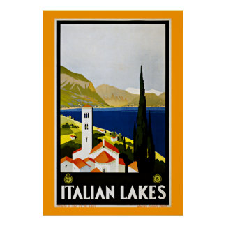 Italian Lakes Italy Vintage Travel Poster