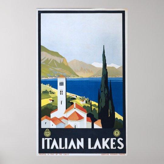 Italian Lakes Vintage Framed Art Poster Print