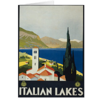 Italian Lakes Vintage Italy Travel Poster Card