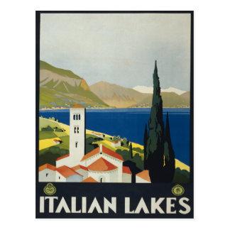 Italian Lakes Vintage Italy Travel Poster Postcard