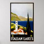 Italian Lakes Vintage Travel Poster Ad Retro Print