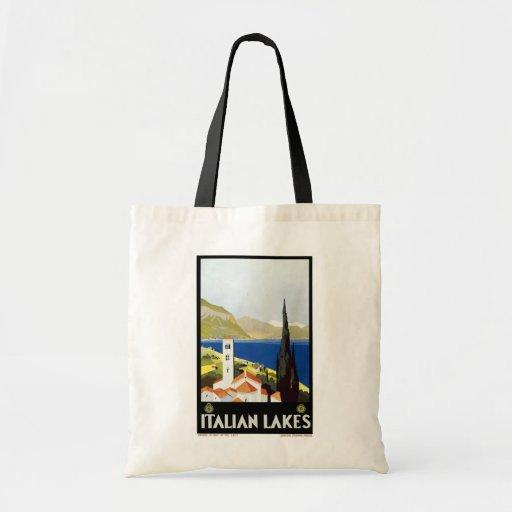"""Italian Lakes"" Vintage Travel Poster Budget Tote Bag"