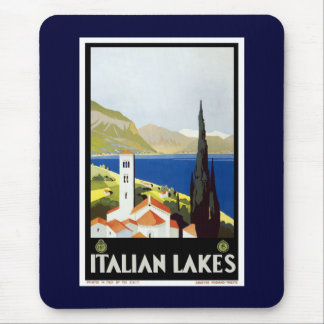 """Italian Lakes"" Vintage Travel Poster Mouse Pad"