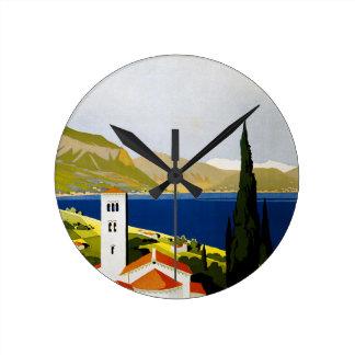 Italian Lakes Vintage Travel Poster Round Clock