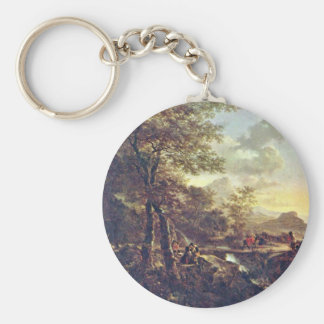 Italian Landscape With Draftsman. [1] By Jan Both Keychains