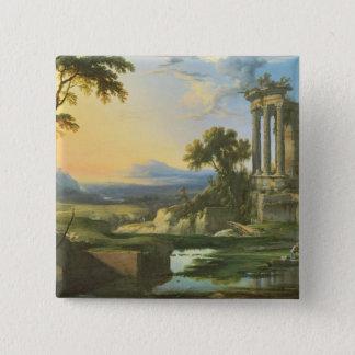 Italian landscape with ruins button