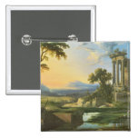 Italian landscape with ruins button