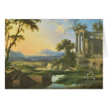 Italian landscape with ruins greeting card