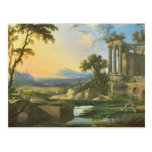 Italian landscape with ruins postcard