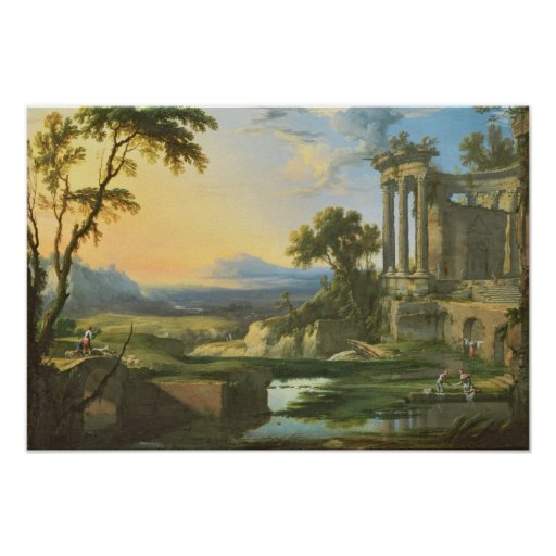 Italian landscape with ruins poster