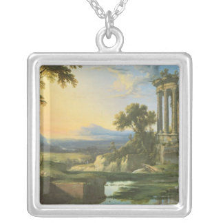 Italian landscape with ruins silver plated necklace