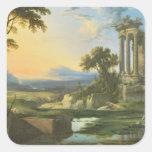 Italian landscape with ruins square sticker