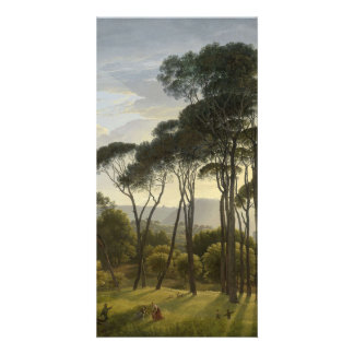 Italian Landscape with Umbrella Pines Oil Painting Customized Photo Card