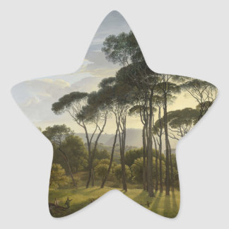 Italian Landscape with Umbrella Pines Oil Painting Sticker