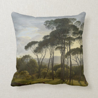 Italian Landscape with Umbrella Pines Oil Painting Throw Pillow