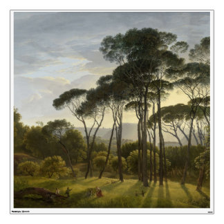Italian Landscape with Umbrella Pines Oil Painting Wall Decal