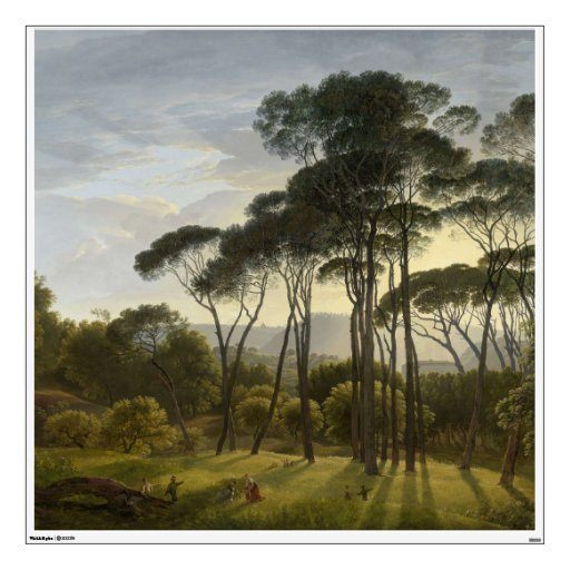 Italian Landscape with Umbrella Pines Oil Painting Wall Stickers