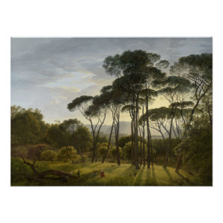 Italian Landscape with Umbrella Pines Poster