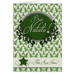 Italian Language - Retro Green Christmas Trees Card