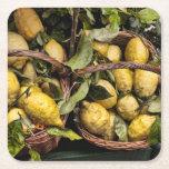 Italian Lemons in a Basket Square Paper Coaster