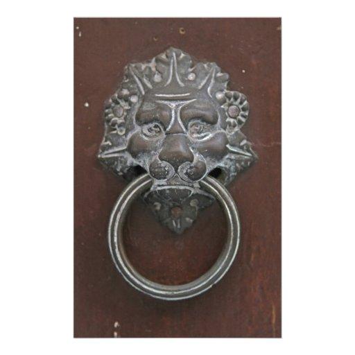 Italian lion door knocker stationery design