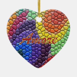 Italian Love Rainbow Mosaic Heart Ornament
