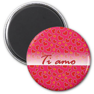 Italian Love Red Hearts Hot Pink Round Magnet
