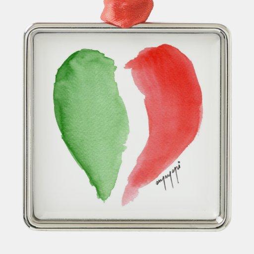 italian love square metal christmas ornament