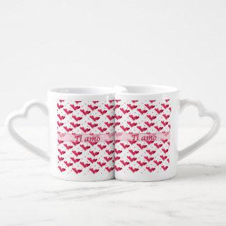 Italian Love Two Tone Red Hearts Lovers Mug Set