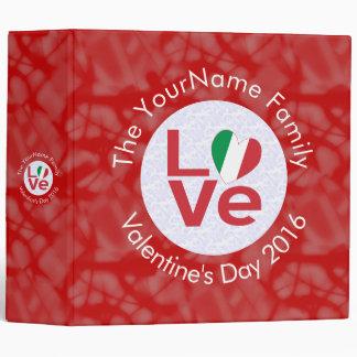Italian LOVE White on Red 3 Ring Binder