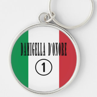 Italian Maids of Honor : Damigella D'Onore Numero Silver-Colored Round Keychain