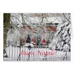 italian merry christmas farm in the snow card