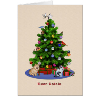 Italian, Merry Christmas Tree, Birds, Cat, Dog Card