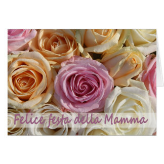 Italian mother's day pastel roses greeting card