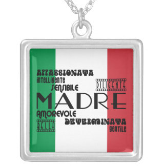 Italian Mothers : Qualities Square Pendant Necklace