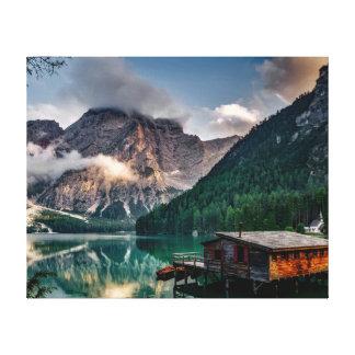 Italian Mountains Lake Landscape Photo Canvas Print