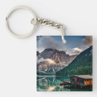 Italian Mountains Lake Landscape Photo Keychain