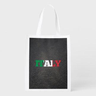 Italian name and flag reusable grocery bag