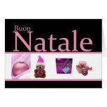 Italian Natale pink black christmas collage Greeting Card