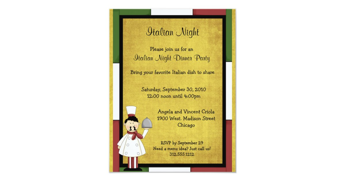 Italian Night Dinner Party Invitation | Zazzle.com