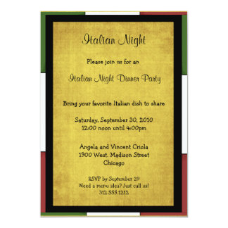 Italian Night Dinner Party Invitation Size 5x7