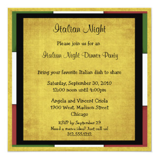 Italian Night Dinner Party Invitation Square Size